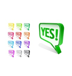 colorful yes word on chat sign vector image