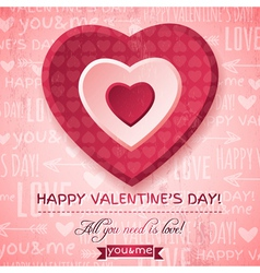 Pink background with red valentine heart vector