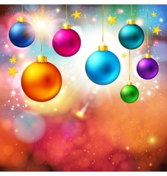 Bright christmas card with realistic xmas balls vector