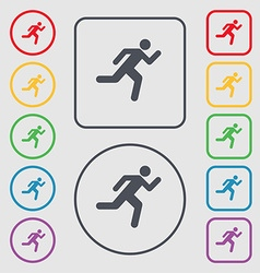 Running man icon sign symbol on the round and vector