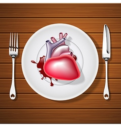 Fork with knife and human heart with blood vector