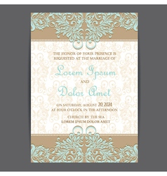 Wedding invitation card brown blue vector