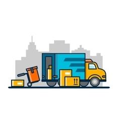 Unloading loading truck vector