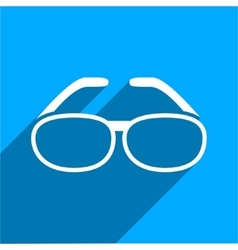 Spectacles flat square icon with long shadow vector