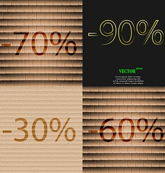 90 30 60 icon Set of percent discount on abstract vector image