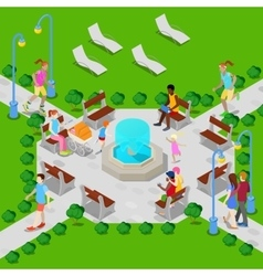 Isometric city park with fountain active people vector