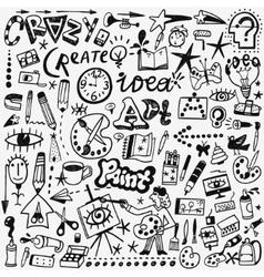 art tools doodles set vector image vector image