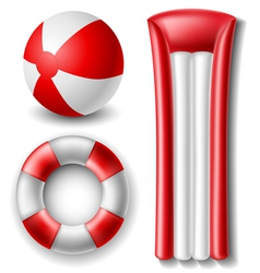 Beach ball and float set vector image