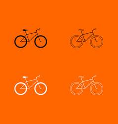 Bicycle black and white set icon vector