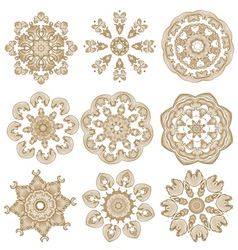 Brown embroidery vector