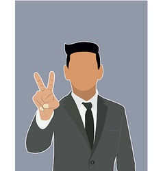 Businessman holds two fingers black web icon vector