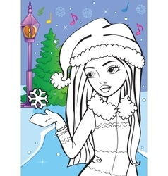 Coloring Book Of Beautiful Girl Catches Snowflake vector image