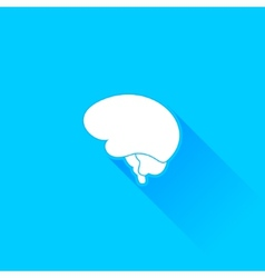 Flat long shadow brain icon vector image vector image