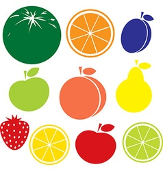 fruit icon - apple peach lemon orange strawberry vector image