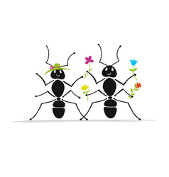 Funny ants couple sketch for your design vector