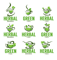 greenherbal organic tea logo template design vector image vector image