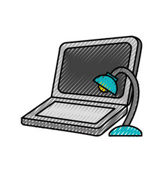 Laptop computer with lamp vector