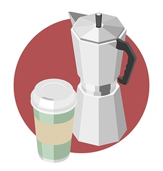 Large paper cup with coffee and coffee machine vector image vector image