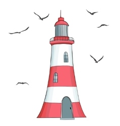 Lighthouse and seagulls made in vector image