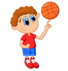 Little kid play basket ball vector