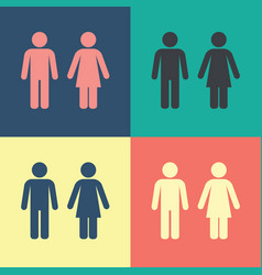 Male female wc icon set vector