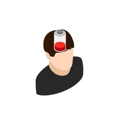 Man with low battery icon isometric 3d style vector image