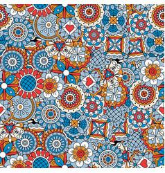 Mandala style flowers blue decorative pattern vector