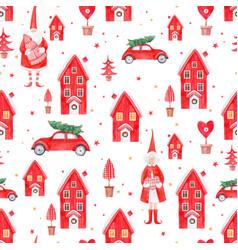 Nice watercolor christmas pattern vector