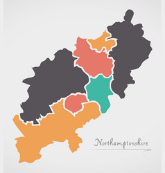 Northamptonshire england map with states and vector