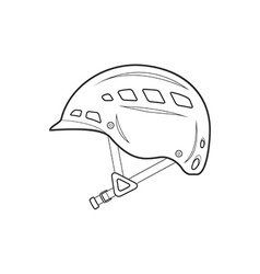 Outline alpinism equipment helmet icon vector