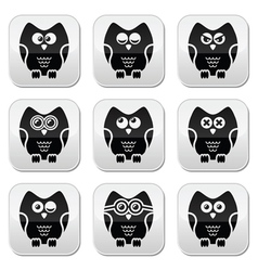 Owl cartoon character buttons set vector image vector image