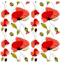 Poppy flowers and capsules seamless pattern vector