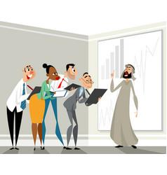 presentation of the arab businessman vector image vector image