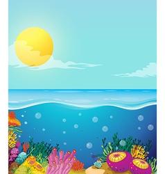 Scene of ocean and underwater vector