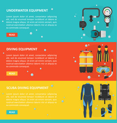 Scuba diving horizontal banner in a flat style vector