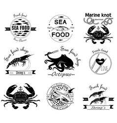 Sea food labels badges and design elements vector