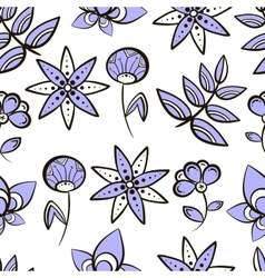 Seamless pattern purple flowers vector