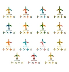 Set of color airplane logo icons vector image vector image