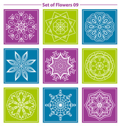 set of geometric and floral linear monogram vector image