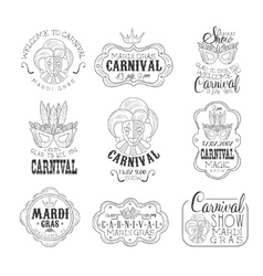 Set of hand drawn monochrome mardi gras event vector