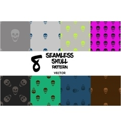 Set of skull seamless pattern vector image