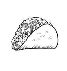 Sketch hand drawn of taco vector
