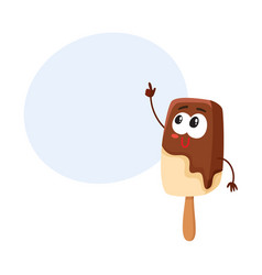 Smiling ice cream on stick popsicle character vector
