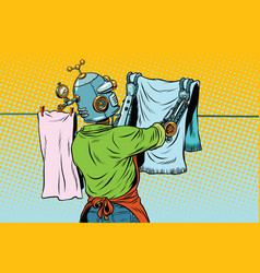 vintage robot employee hangs up to dry clothes vector image vector image