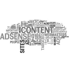 Why adsense is essential for content sites text vector