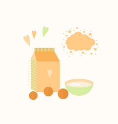 With yoghurt and oranges vector