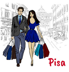 Woman and man in pisa vector