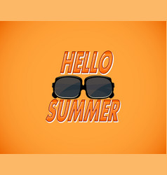yellow retro background with hello summer and vector image vector image