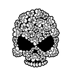 Skull rose tattoo Flower head skeleton Beautiful vector image
