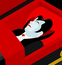 Dracula in coffin vampire count in an open coffin vector
